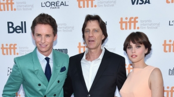 Eddie Redmayne, James Marsh and Felicity Jones at TIFF