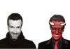 Comedian Marcus Brigstocke dressed as a devil