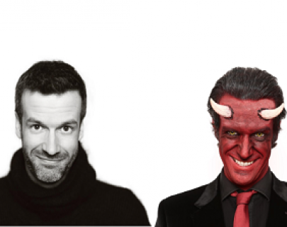 Comedian Marcus Brigstocke dressed as a devil
