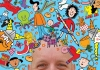 An image of Nick Sharratt surrounded by his illustrations.