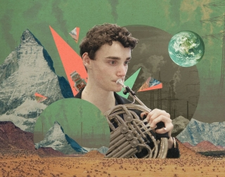 A boy playing the french horn against a composite background of mountains, desert and planets.