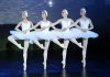 Four dancers in a line, wearing white tutus, perform in Swan Lake