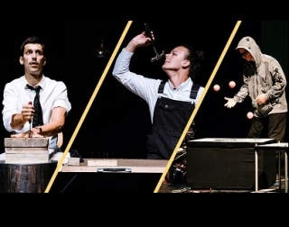 A composite image of three performers against black backgrounds - one has a knife, another a hammer, and the third is juggling