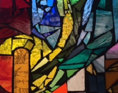 A stained glass design with many different colours