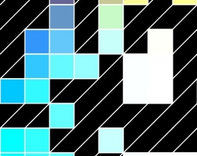 Blocks made up of different shades of green and blue against a black background - a visual representation of processing