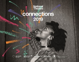 "A woman with natural hair , wearing a checked shirt over a vest, smiles with her head tilted up. She's surrounded by squiggles of colour and the words ""National Theatre Connections 2019"""