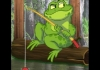 A cartoon image of a frog fishing in a pond