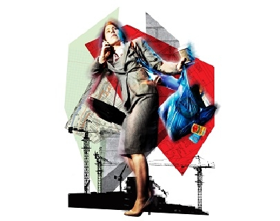A woman in a business suit holding her phone and a coffee against a graphic background of shapes and industrial cranes
