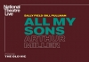 "A brown background with the play title ""All My Sons by Arthur Miller"" in bold type"