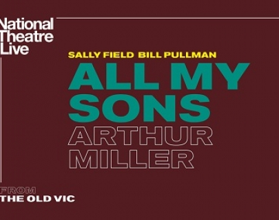 """A brown background with the play title """"All My Sons by Arthur Miller"""" in bold type"""