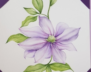 A watercolour painting of a purple flower with leaves