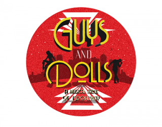 A round red logo with Guys and Dolls written on it, featuring vintage cocktail glasses and silhouettes of dancers