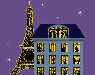 A large Parisian apartment building next to the Eiffel Tower, each window lit with silhouettes of dancing people, against a deep purple sky.