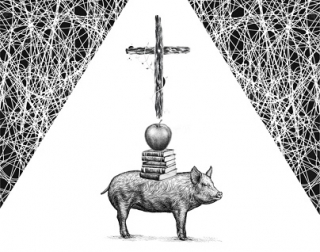 A black and white illustration of a pig, balancing books and an apple on it's back, with a cross above it.