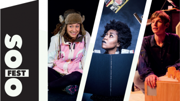 A composite image of three performers; one is an explorer, one looks up from a book and another crouches by a wooden box.