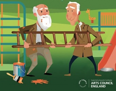 A cartoon image of two elderly men holding a ladder, splattered with paint.