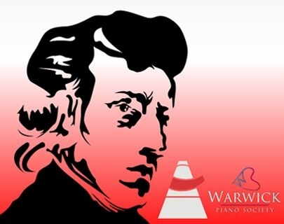 A black outline of musician Chopin against a red background
