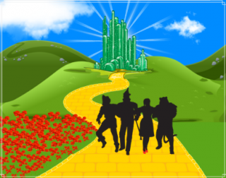 An illustration showing a yellow brick road, leading to a sparking emerald city, with four silhouettes of a scarecrow, tin man, young girl and lion in the foreground