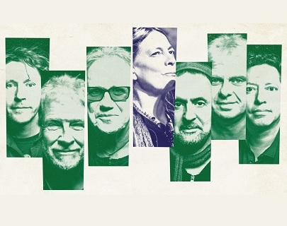 An image of the members of Oysterband on green backgrounds, and June Tabor on a blue background.