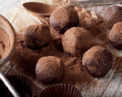 Chocolate balls covered in cacao