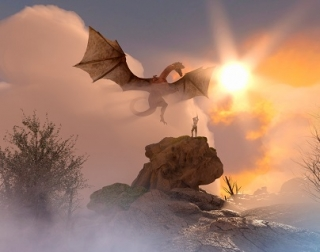 A dragon flies towards a rock, on which a knight stands with a sword, as the sun glows in the background.