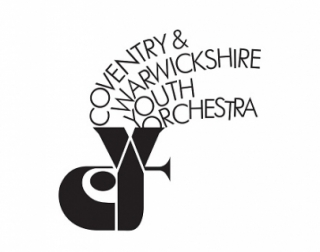 Illustration. An image of a tuba with the words Coventry & Warwickshire Youth Orchestra coming out of it.