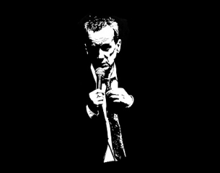 A black and white drawing of Frank Skinner