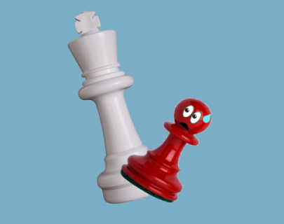 A white chess piece - a king - and a red pawn with a worried cartoon expression
