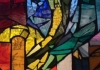 A multicoloured stained glass mosaics