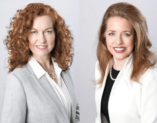 An image of Claire Dale and Patricia Peyton wearing grey and white suits against a grey background