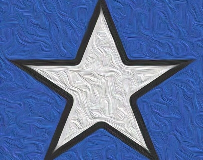 A white star against a textured blue background