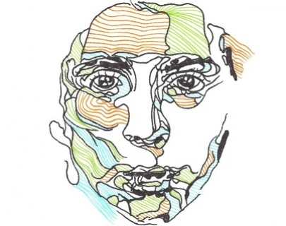 A multi-coloured line drawing of a face
