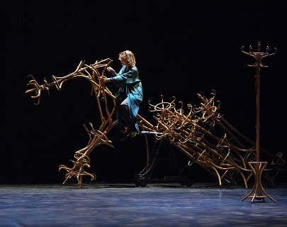 Aurélia Thierrée rides a huge horse made out of hat racks