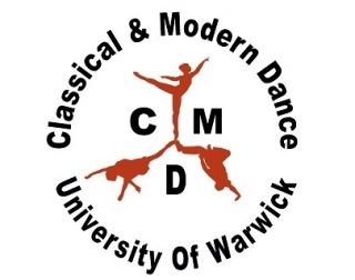 """An illustration of three dancers on a white background, with text reading """"Classical and Modern Dance University of Warwick"""" in a circle around them."""