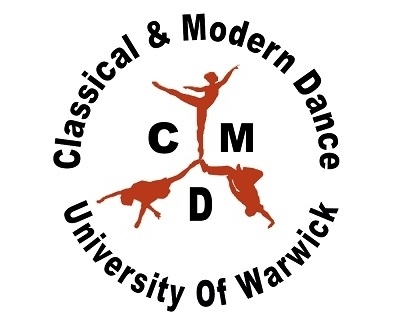 "An illustration of three dancers on a white background, with text reading ""Classical and Modern Dance University of Warwick"" in a circle around them."