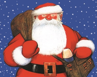 Illustration. Father Christmas wears his red suit and carries a sack of presents, along with a brown bag containing a flask. He stands against a blue, snowy background.