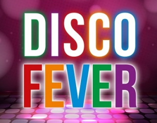 The words Disco Fever in bright colours against a pink dance floor