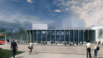 An artist's impression of the Warwick Arts Centre showing a blue sky and a glass-fronted building