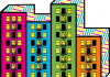 Illustration. Four brightly coloured buildings.