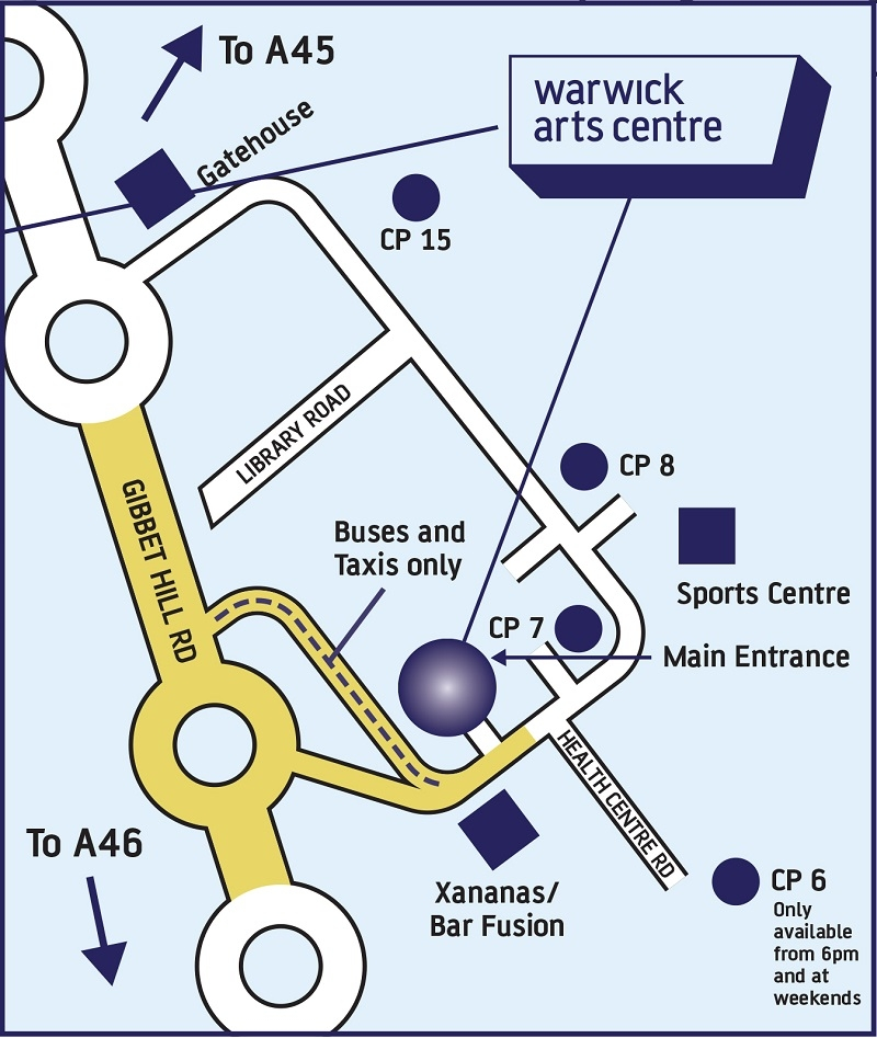 A map showing the car park locations around Warwick Arts Centre