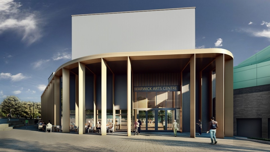 An artist's impression of Warwick Arts Centre in 2020, showing people walking towards a curved entrance, and a sign reading Warwick Arts Centre.