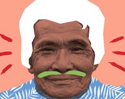 Man smiles at camera with painted green moustache and white hair