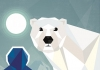 Polar bear looks forward with moon in the background