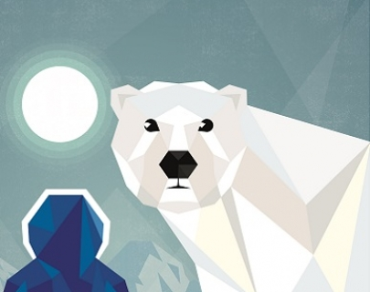 Polar bear looks forward with moon in the background