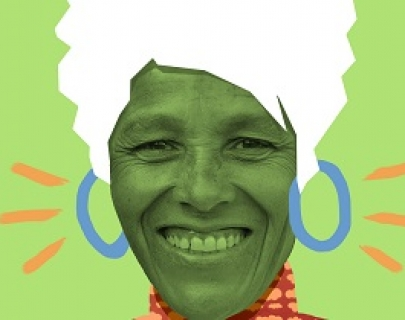 An image of a woman on a green background with white hair and blue earrings painted on her.