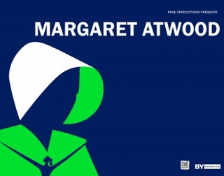 Illustration. The outline of a woman in a cloak, wearing a bonnet on a blue background. The words read: Margaret Atwood