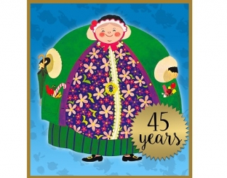 "Illustration. A cartoon of a smiling old lady wearing a green and floral coat, on a blue background. Text in a gold star says ""45 years"""
