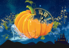 A sparkling glass slipper, pumpkin and clock against a star-filled night sky.