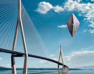 A steel bridge coming out of the sea with a UFO type object hovering next to it