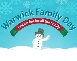 A snowman waving infront of a blue background with snowflakes, with Warwick Family Day over the top.
